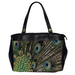Close Up Of Peacock Feathers Office Handbags (2 Sides)  by Nexatart