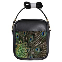 Close Up Of Peacock Feathers Girls Sling Bags by Nexatart