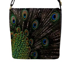Close Up Of Peacock Feathers Flap Messenger Bag (l)  by Nexatart