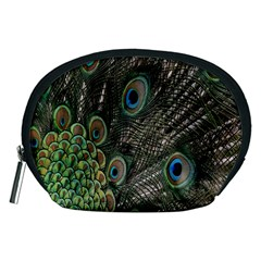 Close Up Of Peacock Feathers Accessory Pouches (medium)