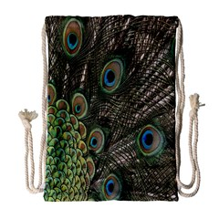 Close Up Of Peacock Feathers Drawstring Bag (large)