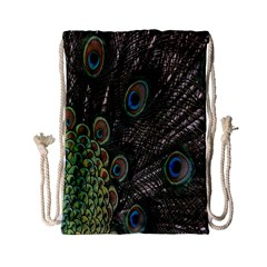 Close Up Of Peacock Feathers Drawstring Bag (small)