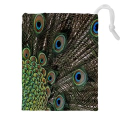 Close Up Of Peacock Feathers Drawstring Pouches (xxl) by Nexatart