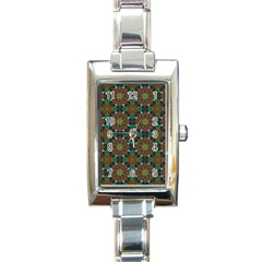 Seamless Abstract Peacock Feathers Abstract Pattern Rectangle Italian Charm Watch
