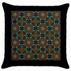 Seamless Abstract Peacock Feathers Abstract Pattern Throw Pillow Case (black)