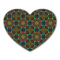 Seamless Abstract Peacock Feathers Abstract Pattern Heart Mousepads by Nexatart