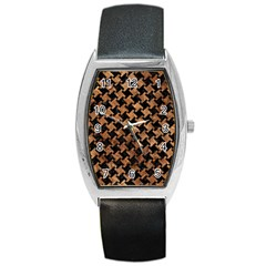 Houndstooth2 Black Marble & Brown Stone Barrel Style Metal Watch by trendistuff
