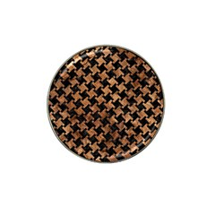 Houndstooth2 Black Marble & Brown Stone Hat Clip Ball Marker by trendistuff