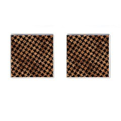 Houndstooth2 Black Marble & Brown Stone Cufflinks (square)