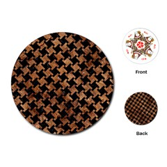 Houndstooth2 Black Marble & Brown Stone Playing Cards (round) by trendistuff