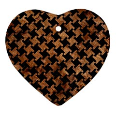 Houndstooth2 Black Marble & Brown Stone Heart Ornament (two Sides) by trendistuff