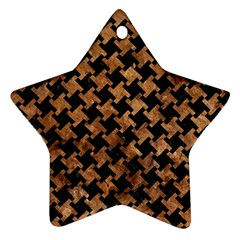 Houndstooth2 Black Marble & Brown Stone Star Ornament (two Sides) by trendistuff