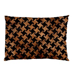 Houndstooth2 Black Marble & Brown Stone Pillow Case by trendistuff
