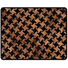 Houndstooth2 Black Marble & Brown Stone Fleece Blanket (medium) by trendistuff