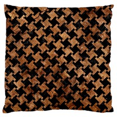 Houndstooth2 Black Marble & Brown Stone Large Cushion Case (one Side) by trendistuff