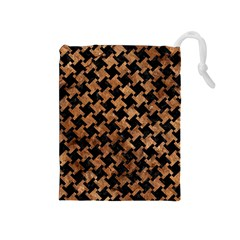 Houndstooth2 Black Marble & Brown Stone Drawstring Pouch (medium) by trendistuff