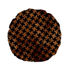 Houndstooth2 Black Marble & Brown Stone Standard 15  Premium Flano Round Cushion  by trendistuff