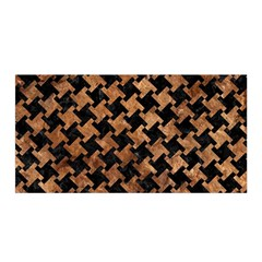 Houndstooth2 Black Marble & Brown Stone Satin Wrap by trendistuff