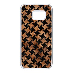 Houndstooth2 Black Marble & Brown Stone Samsung Galaxy S7 White Seamless Case by trendistuff