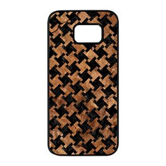 Houndstooth2 Black Marble & Brown Stone Samsung Galaxy S7 Edge Black Seamless Case by trendistuff