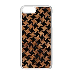 Houndstooth2 Black Marble & Brown Stone Apple Iphone 7 Plus White Seamless Case by trendistuff