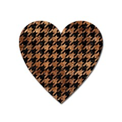 Houndstooth1 Black Marble & Brown Stone Magnet (heart) by trendistuff