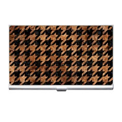Houndstooth1 Black Marble & Brown Stone Business Card Holder by trendistuff