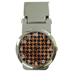 Houndstooth1 Black Marble & Brown Stone Money Clip Watch by trendistuff