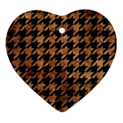 Houndstooth1 Black Marble & Brown Stone Heart Ornament (two Sides) by trendistuff