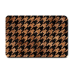 Houndstooth1 Black Marble & Brown Stone Small Doormat by trendistuff