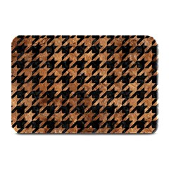 Houndstooth1 Black Marble & Brown Stone Plate Mat by trendistuff