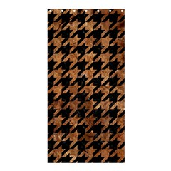 Houndstooth1 Black Marble & Brown Stone Shower Curtain 36  X 72  (stall) by trendistuff