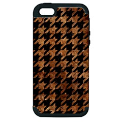 Houndstooth1 Black Marble & Brown Stone Apple Iphone 5 Hardshell Case (pc+silicone) by trendistuff