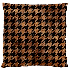 Houndstooth1 Black Marble & Brown Stone Large Flano Cushion Case (one Side) by trendistuff