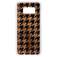 Houndstooth1 Black Marble & Brown Stone Samsung Galaxy S8 White Seamless Case by trendistuff