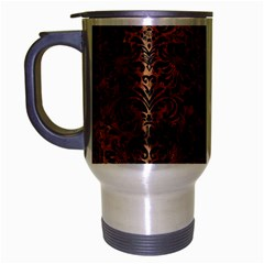 Damask2 Black Marble & Brown Stone (r) Travel Mug (silver Gray) by trendistuff