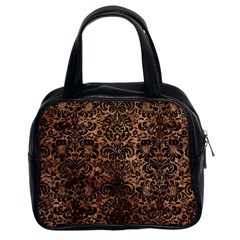 Damask2 Black Marble & Brown Stone (r) Classic Handbag (two Sides)