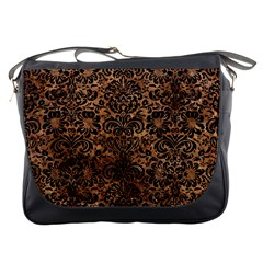Damask2 Black Marble & Brown Stone (r) Messenger Bag by trendistuff