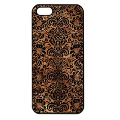 Damask2 Black Marble & Brown Stone (r) Apple Iphone 5 Seamless Case (black) by trendistuff