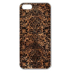 Damask2 Black Marble & Brown Stone (r) Apple Seamless Iphone 5 Case (clear) by trendistuff