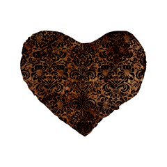 Damask2 Black Marble & Brown Stone (r) Standard 16  Premium Heart Shape Cushion  by trendistuff