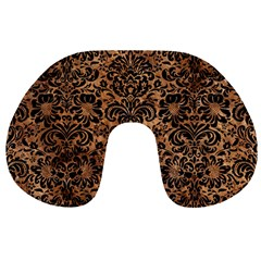 Damask2 Black Marble & Brown Stone (r) Travel Neck Pillow by trendistuff