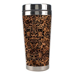 Damask2 Black Marble & Brown Stone (r) Stainless Steel Travel Tumbler by trendistuff