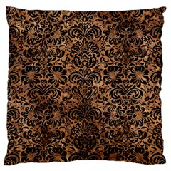 Damask2 Black Marble & Brown Stone (r) Large Flano Cushion Case (two Sides) by trendistuff