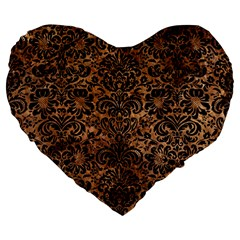 Damask2 Black Marble & Brown Stone (r) Large 19  Premium Flano Heart Shape Cushion by trendistuff