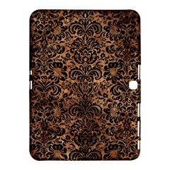 Damask2 Black Marble & Brown Stone (r) Samsung Galaxy Tab 4 (10 1 ) Hardshell Case  by trendistuff