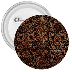 Damask2 Black Marble & Brown Stone 3  Button by trendistuff