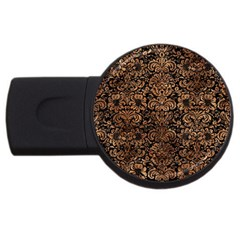 Damask2 Black Marble & Brown Stone Usb Flash Drive Round (4 Gb) by trendistuff