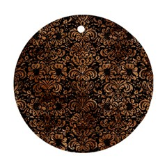 Damask2 Black Marble & Brown Stone Round Ornament (two Sides) by trendistuff