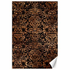 Damask2 Black Marble & Brown Stone Canvas 20  X 30  by trendistuff